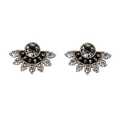 LOVERS TEMPO加拿大品牌 黑鑽扇形 施華洛世奇水晶 耳環