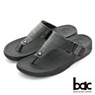 【bac】舒適樂活 多密度大底時尚壓紋夾腳鞋-黑色