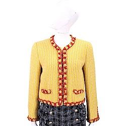 MOSCHINO 鍊飾滾邊黃色格紋粗花呢短版外套