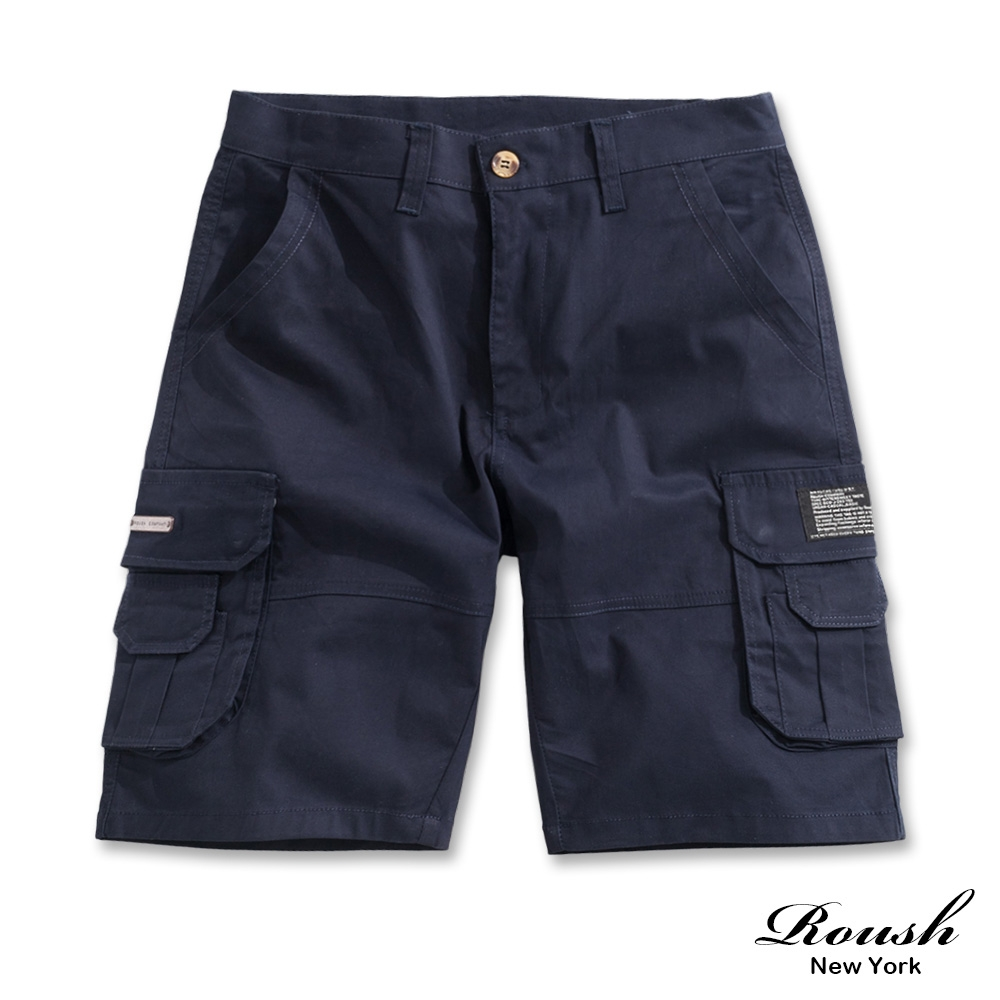 Roush 口袋銅牌設計水洗工裝短褲(4色)