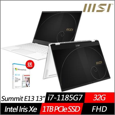 (附M365 15個月)MSI微星 Summit E13 Flip Evo A11MT-033TW 13.4吋翻轉商務筆電(i7-1185G7/32G/1TB PCIe SSD/Win10Pro)