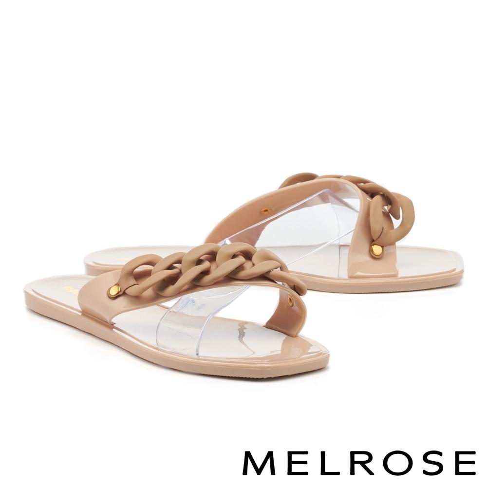 拖鞋 MELROSE 悠閒度假粗鏈條透明片平底拖鞋-粉