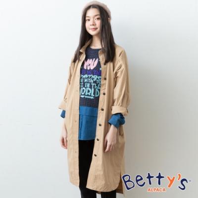 betty's貝蒂思 飛鼠袖排釦長版襯衫外套(卡其)