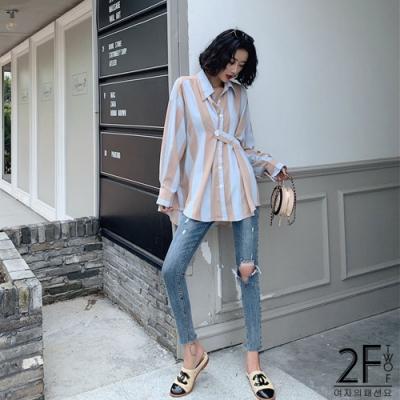 2F韓衣-雙色條紋前短後長襯衫