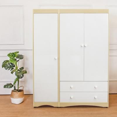 Birdie南亞塑鋼-4.7尺三門二抽塑鋼衣櫃-三吊桿-白橡+白-143x58x190cm