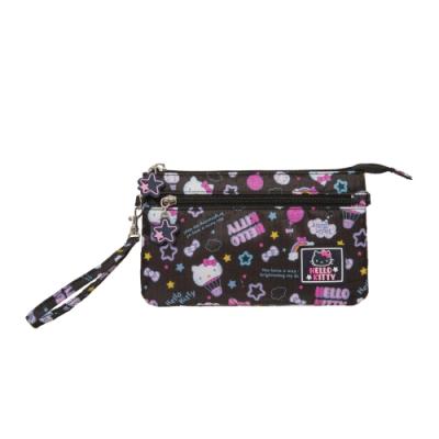 【Hello Kitty】悠遊星空-兩用手拿包-黑 KT01Q07BK