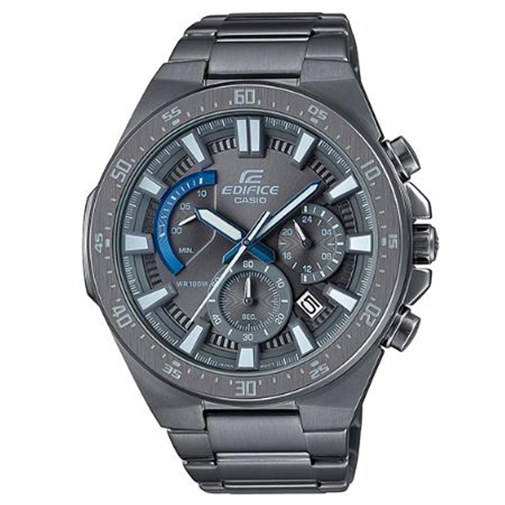 EDIFICE最終武士扇形三眼復古設計賽車腕錶(EFR-563GY-1)灰/48.9mm