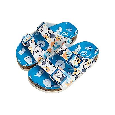 迪士尼童鞋 米奇 滿版休閒涼鞋-藍