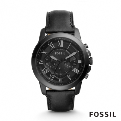 FOSSIL GRANT 黑色帥氣皮革計時男錶