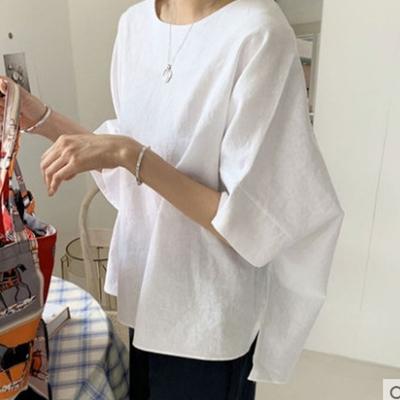 【KISSDIAMOND】棉麻寬鬆涼感造型短T(輕熟女/簡約風/KDT-6690B)