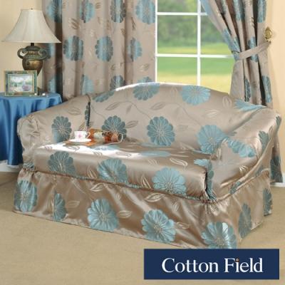 棉花田 花藝 提花雙人沙發便利套-藍色