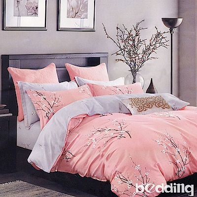 BEDDING-100%棉單人鋪棉床包兩用被套三件組-遇見花開-粉