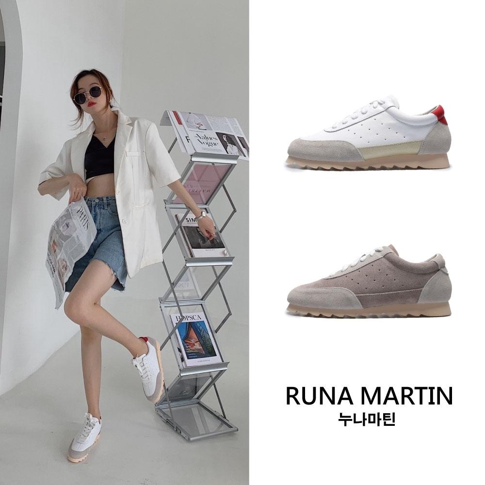 RUNA-正韓來台-真皮拼接小羊腳休閒鞋-白/淺褐
