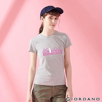 GIORDANO 女裝棉質圓領標語印花T恤-  15 中花灰
