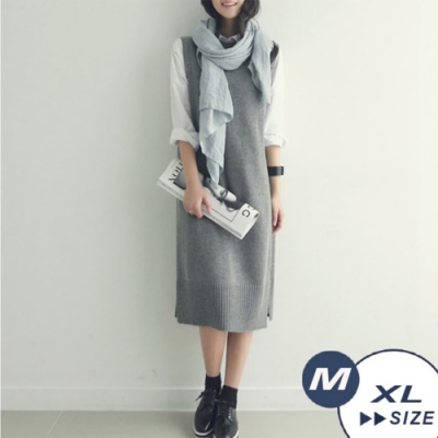 【LANNI 藍尼】書香氣質連身針織背心-2色(M-XL)●