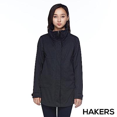 【HAKERS 哈克士】女款 休閒防潑軟殼外套(黑色)