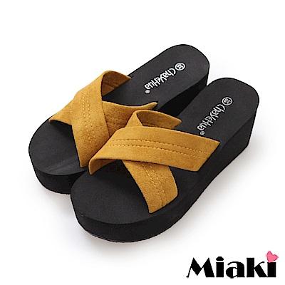 Miaki-涼拖時尚韓風坡跟拖鞋-黃色