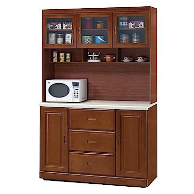 綠活居 莎曼珊3.8尺石面餐櫃/收納櫃組合(上+下)-114.8x48x203cm-免組