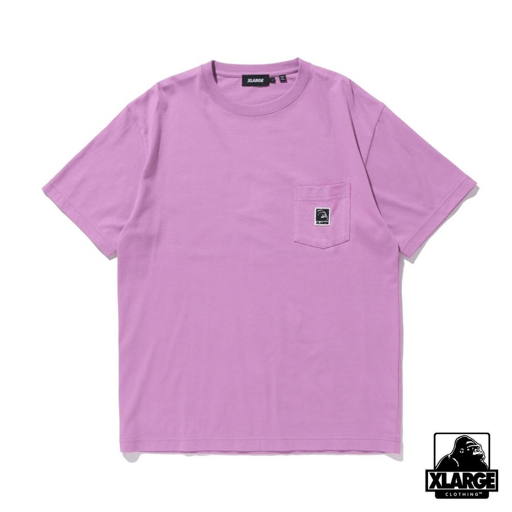 XLARGE S/S POCKET TEE SQUARE OG立體LOGO口袋短T-紫