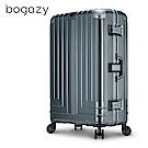 Bogazy 權傾皇者 29吋菱格紋鋁框行李箱(亞麻綠)