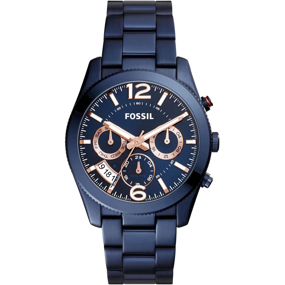 FOSSIL 碧藍之海三眼計時不鏽鋼腕錶-(ES4093)-39mm