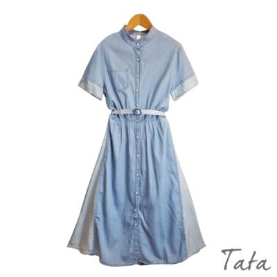 側拼接條紋牛仔洋裝(附腰帶) TATA-F