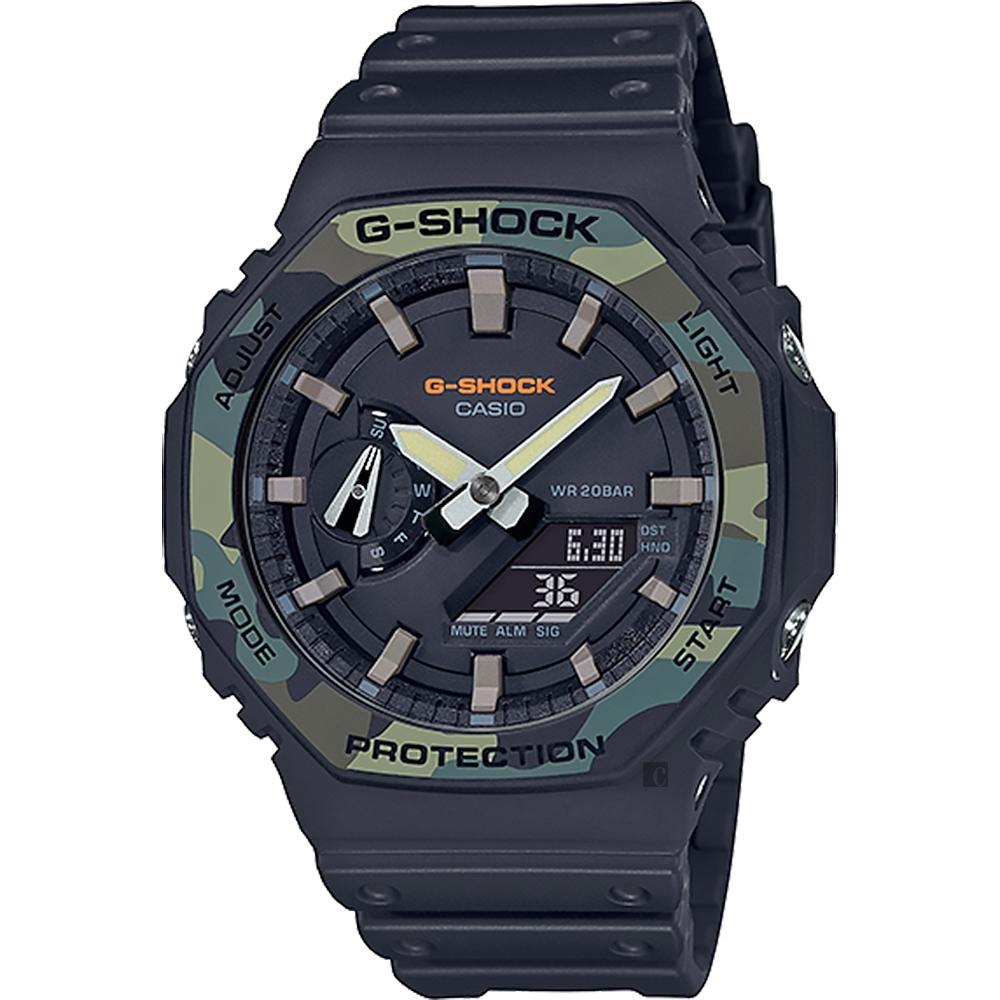 CASIO 卡西歐 G-SHOCK 街頭軍事系列八角電子錶-迷彩綠 GA-2100SU-1A