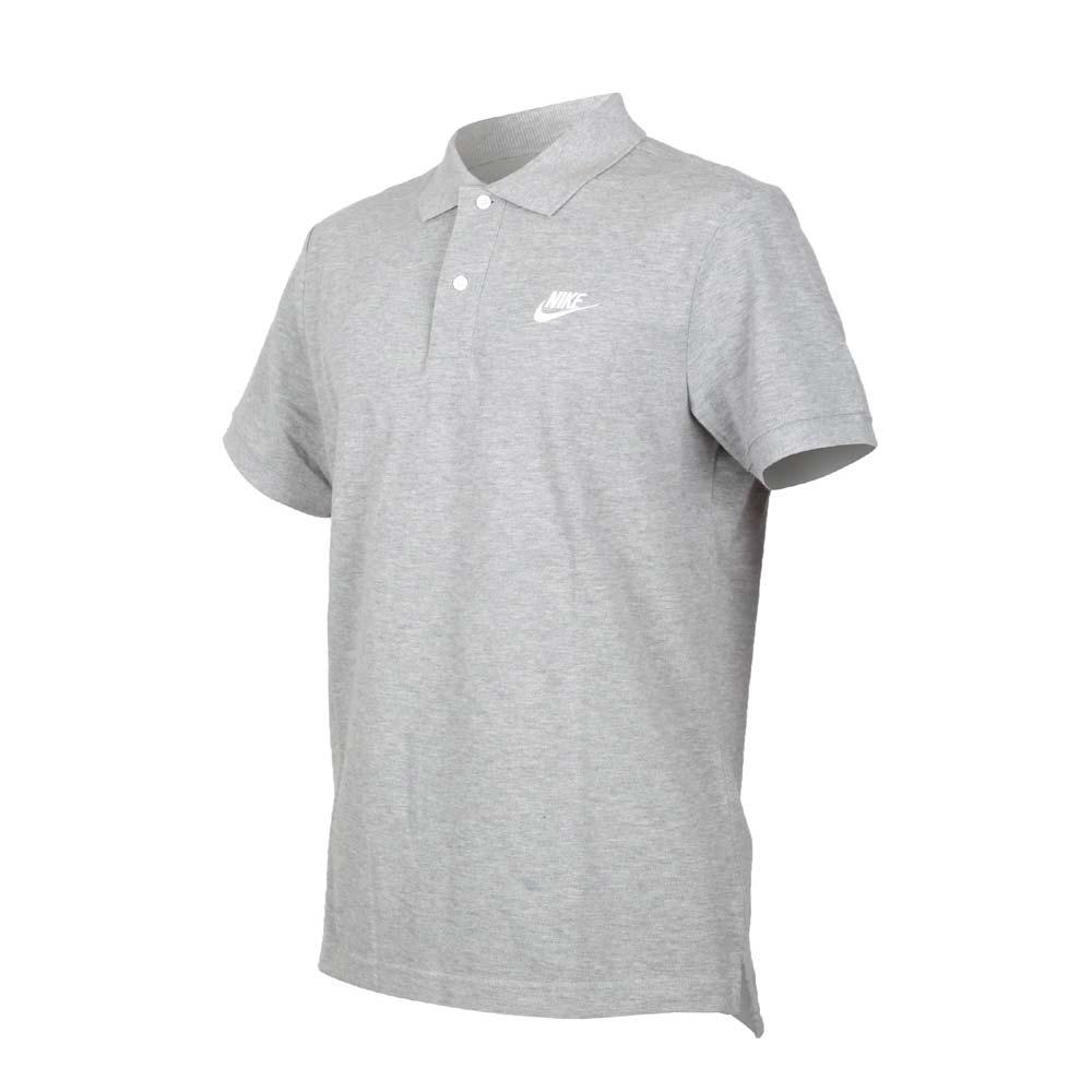 NIKE 男短袖POLO衫-短袖上衣 慢跑 高爾夫 網球 羽球 休閒 純棉 CJ4457-063 灰白