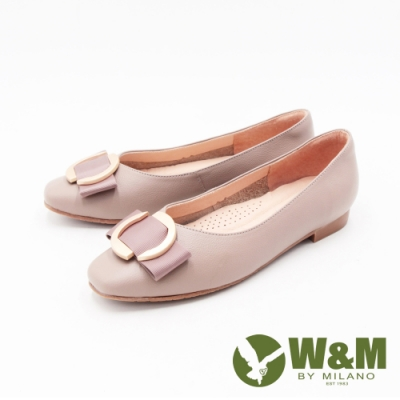 W&M (女)方頭金圓釦荔枝紋娃娃鞋 包鞋 女鞋 -奶茶色(另有黑)