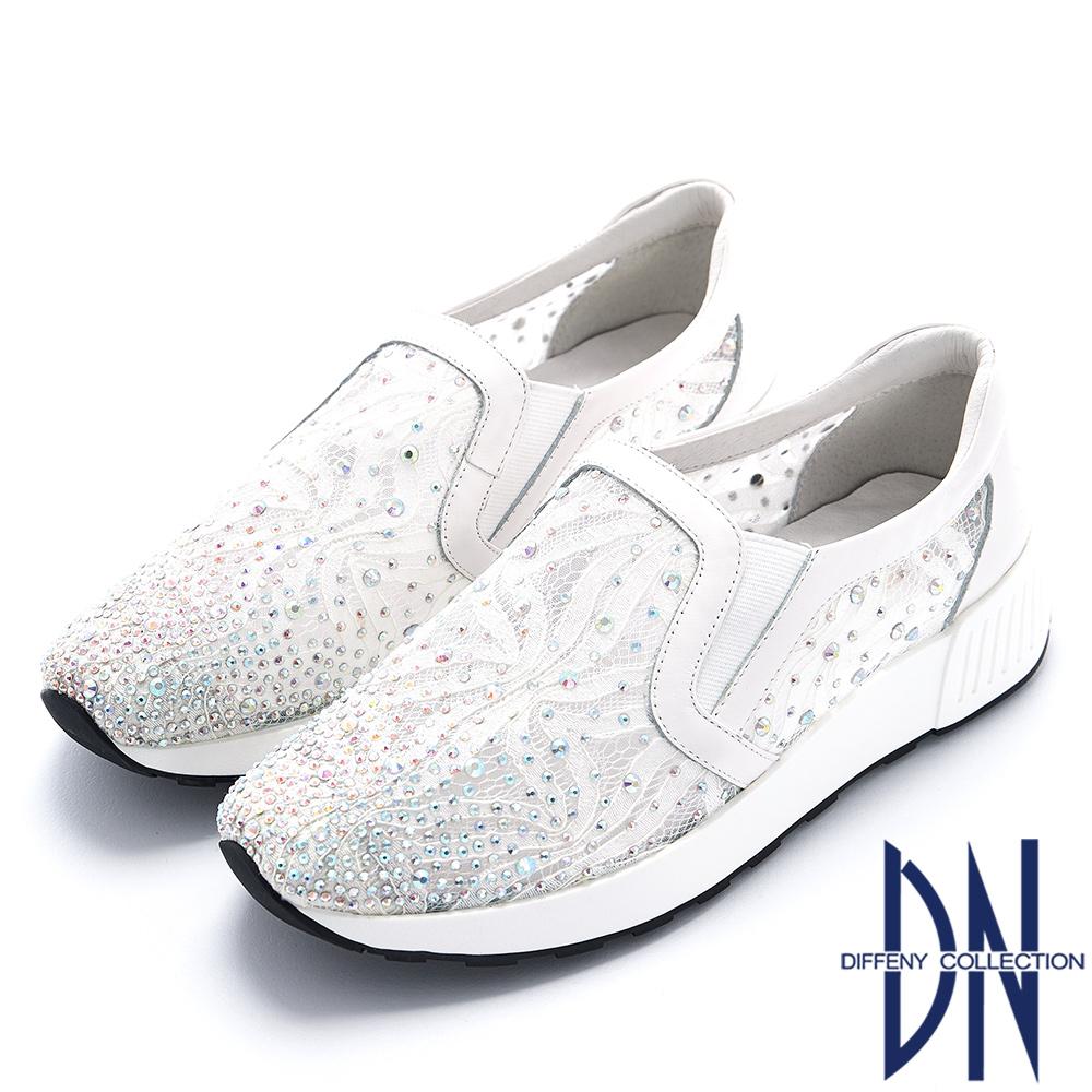 DN 輕漾星空 放射鑽飾刺繡厚底休閒鞋-白