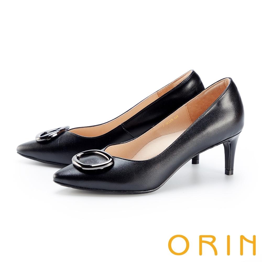 ORIN 造型金屬釦環尖頭羊皮 女 高跟鞋 黑色