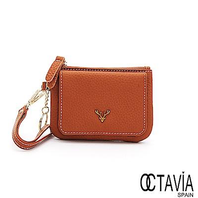OCTAVIA8真皮 - 有鹿時尚 牛皮隨手短夾 - 小鹿棕