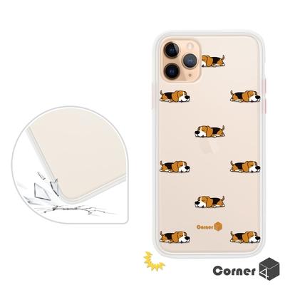 Corner4 iPhone 11 Pro Max 6.5吋柔滑觸感軍規防摔手機殼-米格魯懶洋洋(白殼)