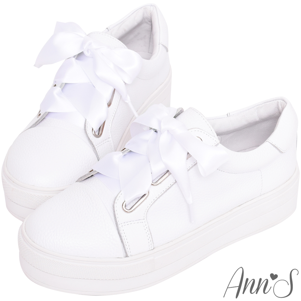 Ann'S激瘦第三代!!!寬版緞帶全真皮厚底小白鞋