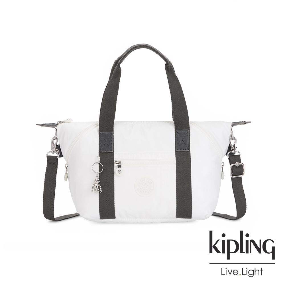 Kipling 時尚極簡白手提側背包-ART MINI