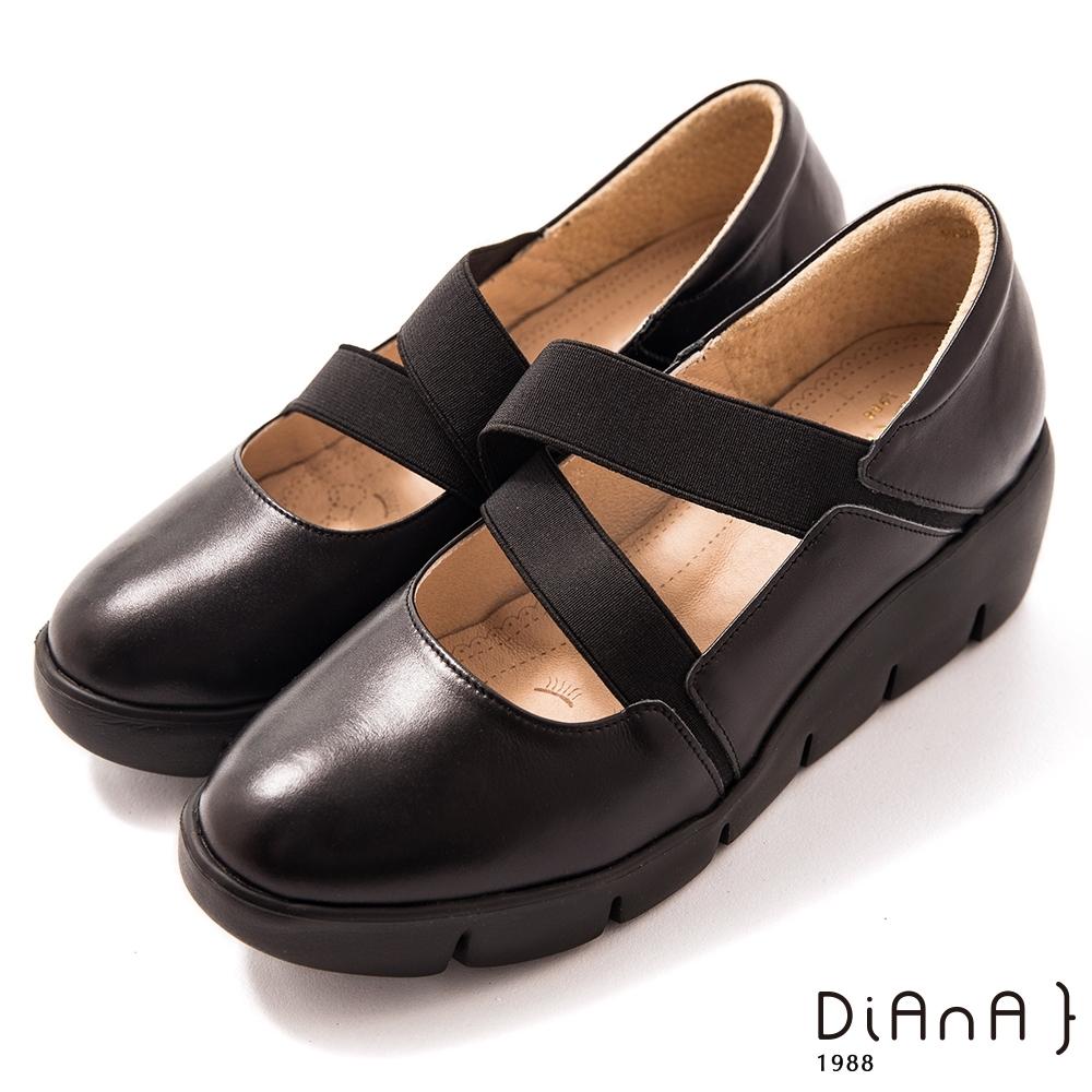 DIANA 5cm牛皮彈性交織帶輕量底瑪莉珍鞋-漫步雲端焦糖美人–黑
