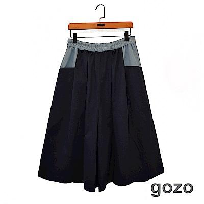 gozo 丹寧拼接七分鬆緊寬褲(深藍)