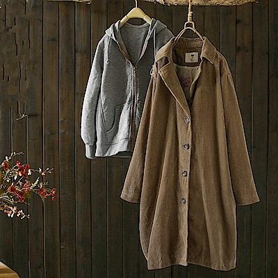 時尚可拆卸兩件套寬鬆燈芯絨風衣外套-設計所在