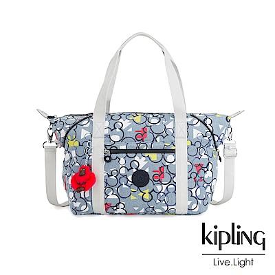 Kipling 米奇90周年限量包款系列 丹寧滿版俏皮米奇印花手提側背包-D ART