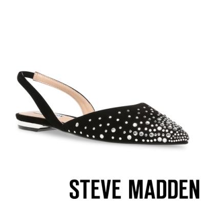 STEVE MADDEN-JOSEY 氣質水鑽尖頭平底女鞋-黑色