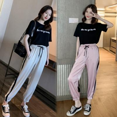 【韓國K.W.】(預購) 撩人時尚俏皮字母運動套裝褲