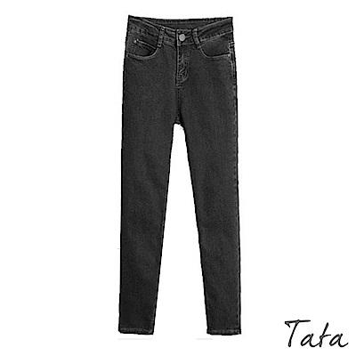 褲腳收邊牛仔黑褲 TATA-(S~XL)