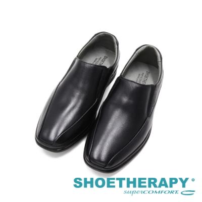 SAPATOTERAPIA巴西FUSION方頭氣墊感彈力懶人直套皮鞋 男鞋-黑