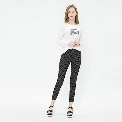 Hang Ten - 女裝 - 簡約彈性合身長褲 - 黑格