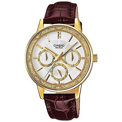 CASIO 成熟白領低調奢華指針皮帶錶(LTP-2087GL-5)/咖啡30mm