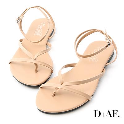 D+AF 自在滿分.一字夾腳繫踝平底涼鞋*杏