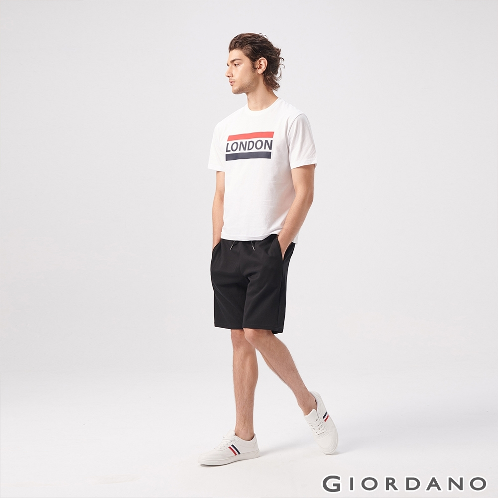 GIORDANO 男裝素色抽繩休閒針織短褲-02 標誌黑色