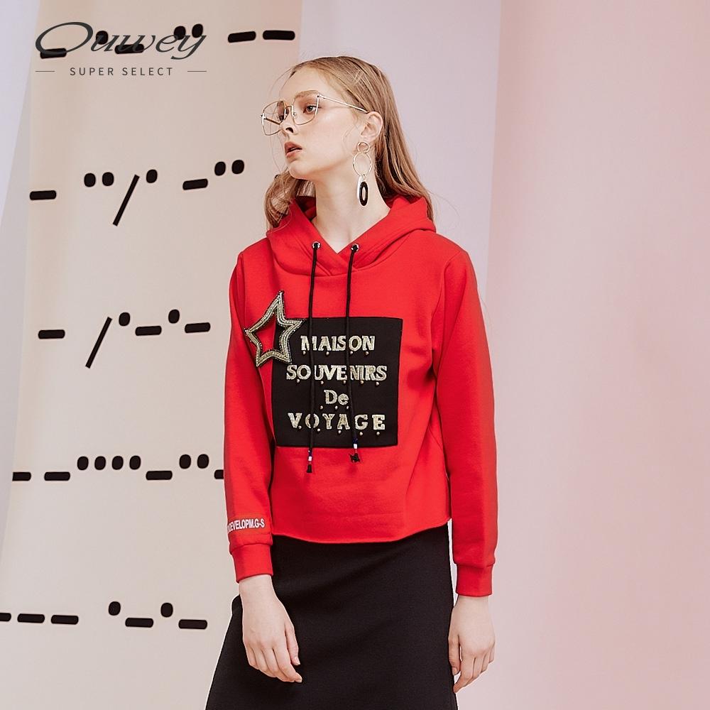 OUWEY歐薇 立體星星標語貼布繡內刷毛連帽上衣(紅)