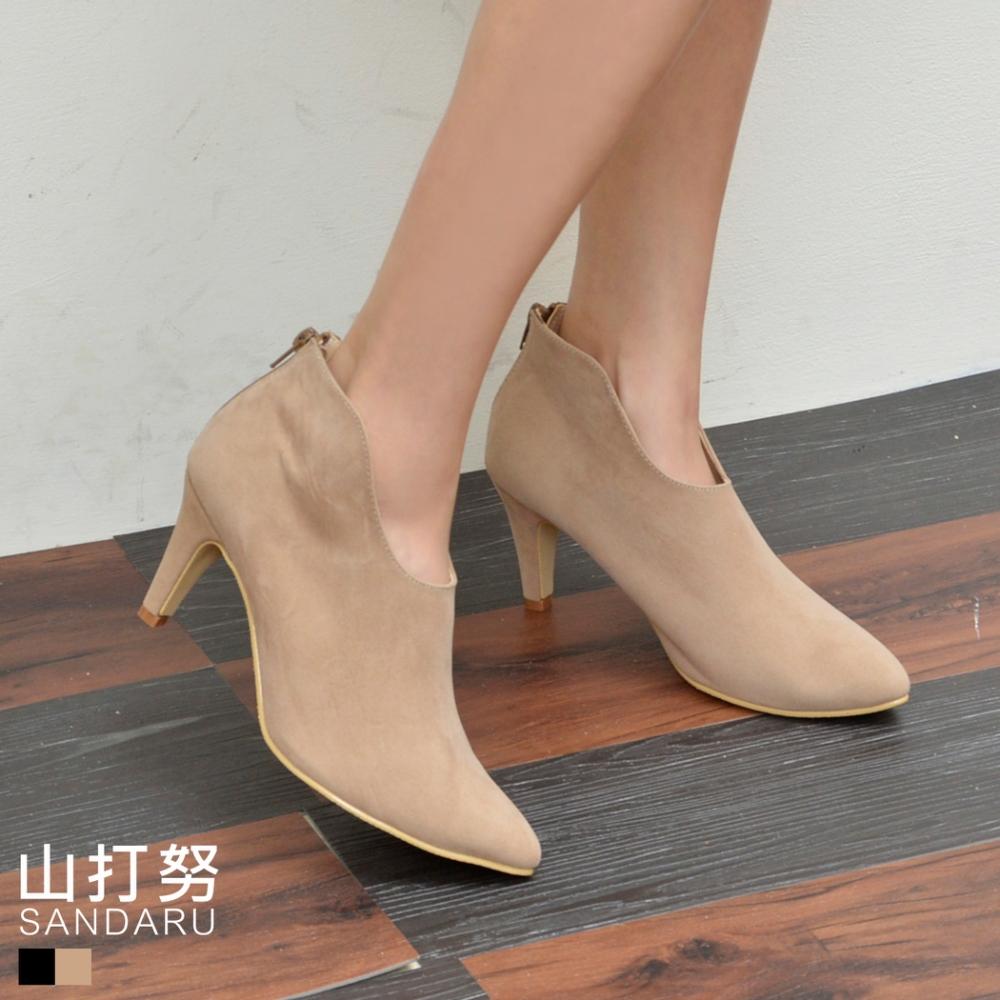 山打努SANDARU-短靴 V字尖頭高跟短靴