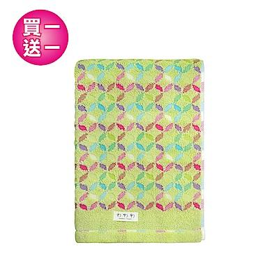 【買一送一】日本丸真 今治浴巾 繽紛花火-草綠色